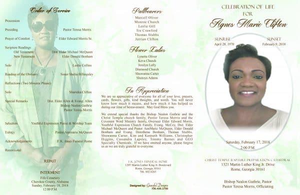 Creative Tri-fold obituary by Graceful Designs